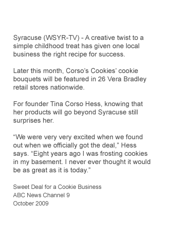 ABC News Channel 9 Covers Corso's Cookies working with Vera Bradley for Vera Bradley Foundation for Breast Cancer Research