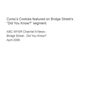Corso's Cookies featured on Bridge Street Did You Know? segment - ABC Channel 9 News WSYR